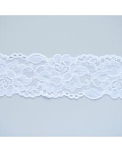 Feines, schmales Spitzenband, elastisch, 5.5 cm breit. Angehem weiche Qualität, auch für Unterwäsche geeignet.