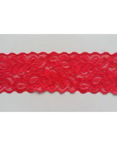 Elastisches Spitzenband, erdbeerrot, 6.5cm breit