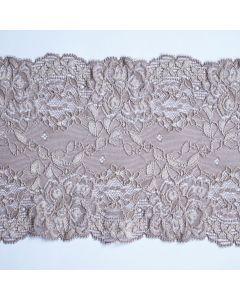Elastisches Spitzenband, taupe - 15cm breit