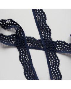 Weiches, elastisches, breites Spitzenband in dunkelblau - 15mm breit.