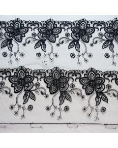 Elastische Spitze in schwarz -17cm breit