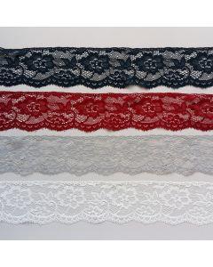 Elastische Spitze, 6.3cm breit in 4 Farben