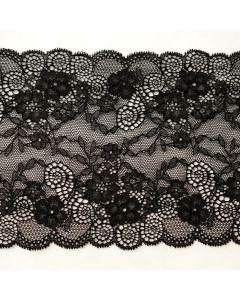 15cm breites, längselastisches Spitzenband in schwarz für Unterwäsche und Bekleidung - 15cm breit.