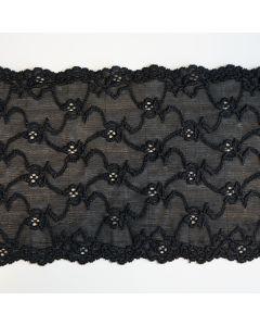 Elastisches Spitzenband, 18cm breit in schwarz - RESTSTÜCK à 70cm