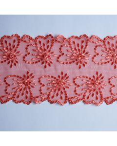 Elastische Tüllstickerei-Spitze in lachs - 10.5cm breit