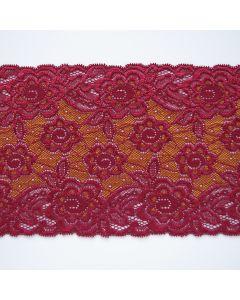 Elastisches Spitzenband in erdbeerrot-gold - 14cm breit