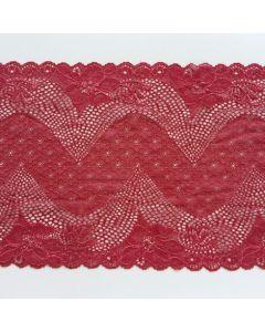 Elastisches Spitzenband, 19.5 cm breit, weinrot