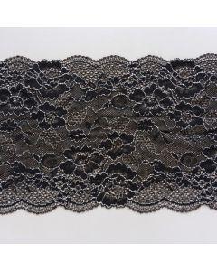 Elastisches Spitzenband, 16.5 cm breit, anthrazit-weiss