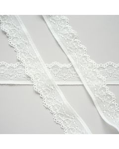 Weiche, elastische Spitze (Spitzenband) in ecru 3cm breit, perfekt für Unterwäsche, Oberbekleidung. Auch für Deko gut geeignet.