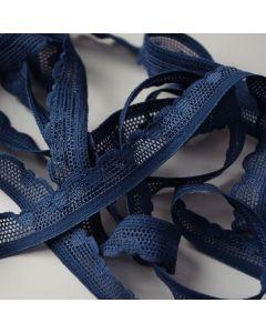 Schmale, elastische Spitze in dunklem jeansblau für Unterwäsche, Oberbekleidung und Deko.