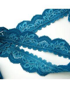 Elastische Spitze - Spitzenband in petrol - 2.5cm breit für hautnahe Kleidung und Unterwäsche.