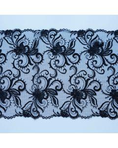 Feine Tüllstickerei in schwarz - 19cm breit
