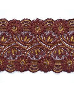 Elastische Spitze, schoggibraun-gold - 13cm breit