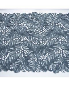 Elastische Spitze in stahlgrau - 21.5cm breit