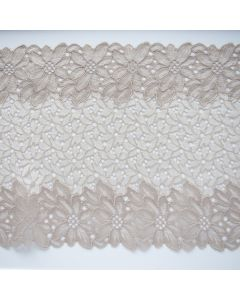 Elastische Spitze für Unterwäsche und Bekleidung in ecru-taupe - die Spitze ist 23cm breit, leicht strukturiert, wirkt edel.