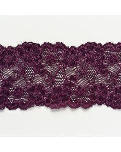 Elastische Spitze, Aubergine, 9cm breit