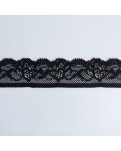 Weiche, schmale, elastische Spitze in schwarz für hautnahe Bekleidung und Unterwäsche.