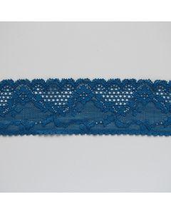 Schönes, angenehm weiches Spitzenband in petrol mit einer Bogenkante und Blumenmuster für Unterwäsche und Bekleidung.