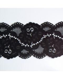 Elastisches Spitzenband, schwarz - 8 cm breit