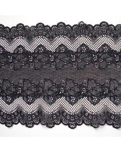Elastische Spitze - Spitzenband in schwarz - 22cm breit. Die Spitze ist halbtransparent, die Mitte ist mit glänzenden Fäden durchwoben.
