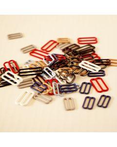 BH-Schieber aus Metall fürs BH-Nähen. Die Packung enthält 8 Stk. BH-Schieber in der gewünschten Farbe und Grösse (Durchlass).