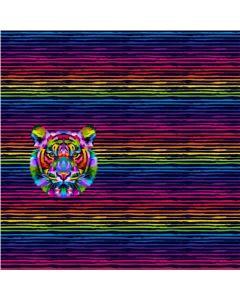 Gestreifter Jersey Stoff Panel mit Tiger-Motiv