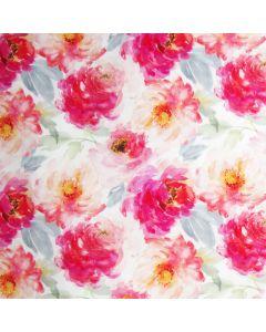 Baumwolle Popeline Stoff in Pastellfarben mit buntem Blumenmuster für Sommerkleider und Masken