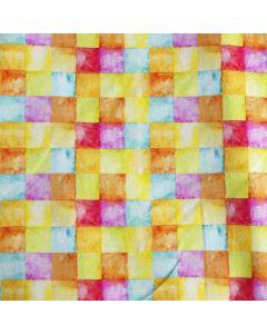 Bielastischier Jersey Stoff mit buntem Mosaikmuster in fröhlichen Farben für Kinderbekleidung und Deko.