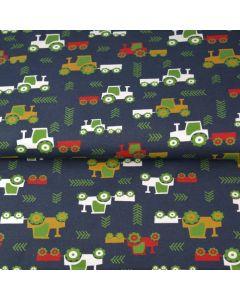 Jersey Stoff in dunkelblau mit Traktormuster in rot, weiss und senf - der Stoff ist bielastisch, aus Baumwolle - perfekt für Kinderklamotten.