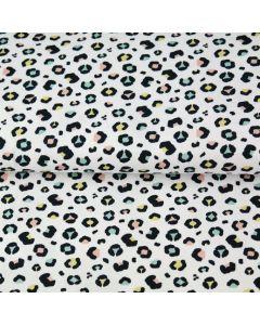 Weicher, dünner Musselin Stoff in offwhite mit Leopardenmuster in schwarz, mint, rosa und gelb - der Stoff ist aus 100% Baumwolle - perfekt für Sommerkleider.