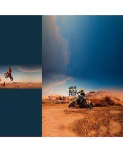 French Terry Stoff Panel 'Desert Rider' mit Motorrad / Töff Muster - 75x150cm