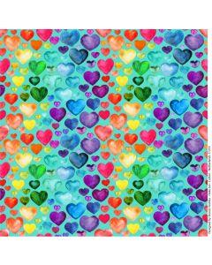 Bielastischer Jersey Stoff in kräftigem türkisgrün mit Herzmuster in bunten Farben für Bekleidung und Unterwäsche.