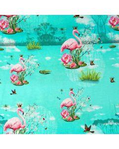 Bunter Jersey Stoff mit Flamingomuster