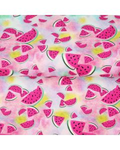 Jersey Stoff 'Wassermelone' mit Melonenmuster