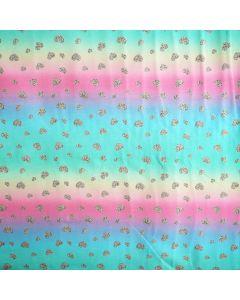 Bielastischer Jersey Stoff in blau-türkis-pink mit Herzmuster für Bekleidung und Unterwäsche.