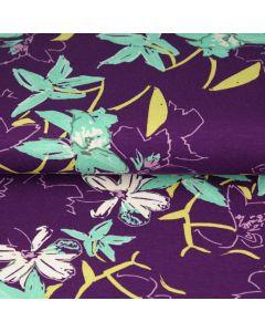 Viskose - Modal Jersey Stoff in Aubergine mit Blumenmuster