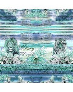 Jersey Stoff Panel mit Tiger und Löwe - 150x150cm