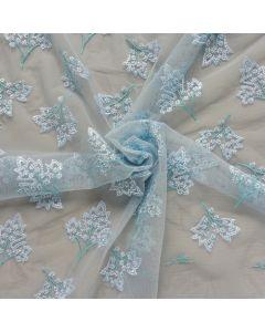 Bielastische Spitze, hellblau mit Blumenstickerei