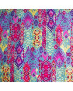 Tanzkleid-Lycra Stoff mit buntem Muster und glänzender Beschichtung.