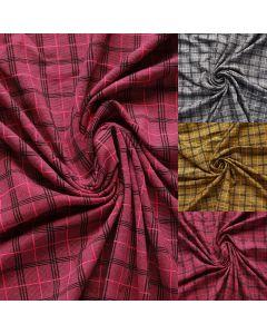 Unterwäschestoff / Funktions-Lycra Stoff mit Tartanmuster (Schottenkaro Muster) in weinrot, ocker und grau. Bielastisch, perfekt für Boxershorts, Unterwäsche und Funktonswäsche.