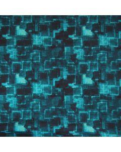 Nicht elastischer Boardshort-Stoff (Badehosenstoff) in türkis und petrol mit quadratischem Muster und tollen Highlights.