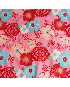 Badelycra - Lycra Stoff mit rosa-türkis Blumen