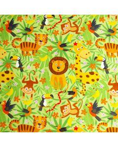 Grüner Jersey Stoff mit Tiger- Löwe- Giraffenmuster