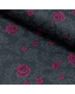 Satin Stoff aus 100% Baumwolle in anthrazit mit schönem Rosenmuster in magenta. Der Stoff ist perfekt für Damenbekleidung und Trachten.