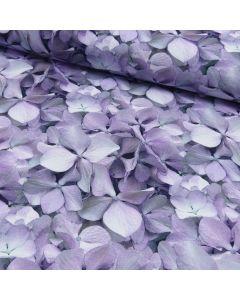 Bielastischer French Terry - Sommersweat Stoff mit angerauter Rückseite in den Farben flieder, violett und lila. Der Stoff ist perfekt für Damenbekleidung.
