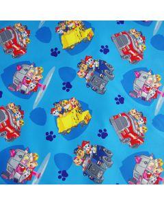 Lässiger Softshell Stoff in blau mit diversen Paw Patrol Motiven für kleine Paw Patrol Fans.