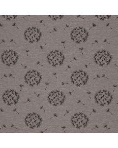Graumelierter Wintersweat Stoff mit schwarzen Pusteblume-Motiven für warme Übergangsjacken, Hoodies oder Hosen.