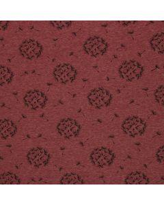 Dunkelroter Wintersweat Stoff mit Pusteblume-Motiven - 360 g/m2 schwere Meterware - 145 cm breit
