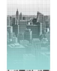 Weicher, bielastischer Viskose - Modal Jersey Stoff in heller aquamarine mit grossem Stadt-Muster. Der Stoff ist perfekt für Jersey-Kleider, Unterwäsche, Leggings.