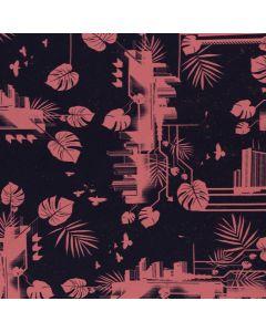 Jersey Stoff in dunkelblau und blush aus der 'Urban Jungle' Kollektion von Thorsten Berger
